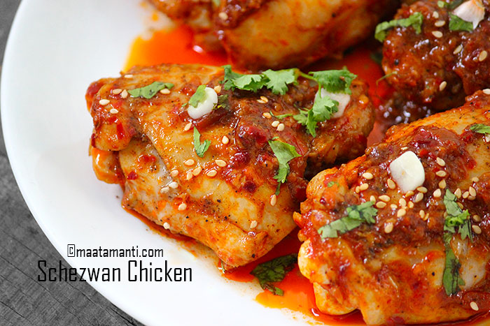 schezwan chicken thighs