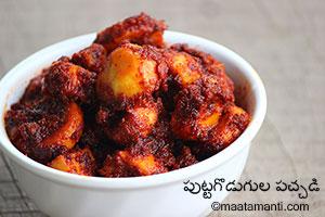 Mushroom Pickle Telugu Recipe-పుట్టగొడుగుల పచ్చడి