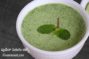 Pudina Dahi Chutney Telugu Recipe-పుదీనా డిప్ చట్నీ
