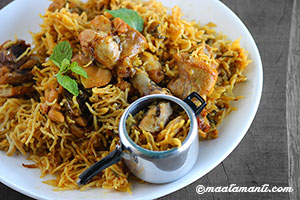 pressure cooker chicken biryani telugu recipe